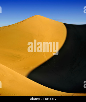 Star Dune, the highest dune of the Mesquite Flat Sand Dunes, known from Star Wars, early morning light, Stovepipe - Stock Photo