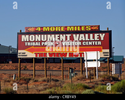 Signs to the Visitor Center, The View Hotel, Monument Valley, Highway 163, Navajo Tribal Park, Navajo Nation Reservation - Stock Photo