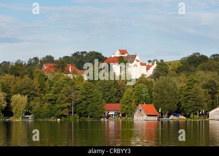 Lake Pilsensee with Schloss Seefeld castle, Fuenfseenland region, Upper Bavaria, Bavaria, Germany, Europe - Stock Photo