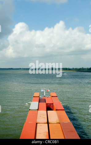 Aerial view of containers on barge - Stock Photo