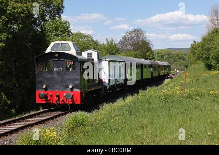 V36 diesel locomotive, railway museum near Ebermannstadt, Franconian Switzerland, Upper Franconia, Franconia, Bavaria - Stock Photo