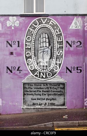 Ulster hand, Protestant mural, Shankill Road, West Belfast, Belfast, Ulster, Northern Ireland, United Kingdom, Europe - Stock Photo
