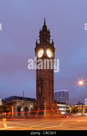 Clock tower, Albert Memorial Clock Tower, Belfast, Northern Ireland, United Kingdom, Europe, PublicGround - Stock Photo