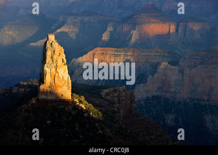 View from Point Imperial towards the last light on Mount Hayden at sunset, Grand Canyon National Park, North Rim, - Stock Photo