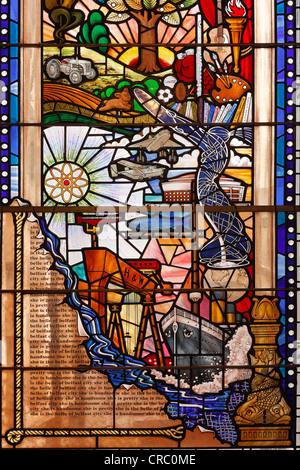 Centenary window, city gall, Belfast, Northern Ireland, Ireland, Great Britain, Europe - Stock Photo