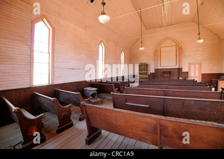 Interior, Methodist Church, ghost town of Bodie, a former gold mining town, Bodie State Historic Park, California - Stock Photo