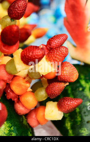 Breakfast- fresh salad with fruits and berries - Stock Photo