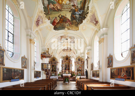 Pilgrimage Church of St. Marinus and Anian in Wilparting, Irschenberg district, Oberland, Upper Bavaria, Bavaria - Stock Photo