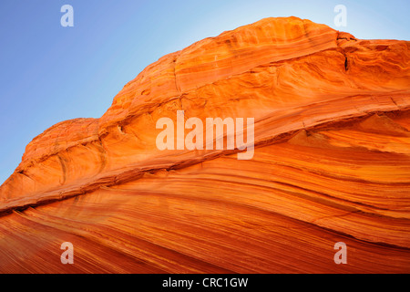 Detail of typical Liesegang Bands, Liesegangen Rings, or Liesegang Rings, The Wave, banded eroded Navajo sandstone - Stock Photo