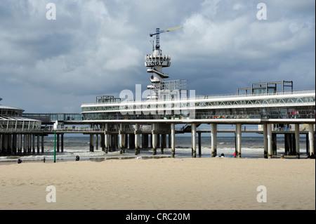 Beach and pier of Scheveningen, Den Haag, The Hague, Dutch North Sea coast, Holland, Netherlands, Benelux, Europe - Stock Photo