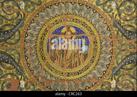 Mosaic on the ceiling of the entrance hall of the Kaiser-Wilhelm-Gedaechtniskirche, Kaiser Wilhelm Memorial Church - Stock Photo