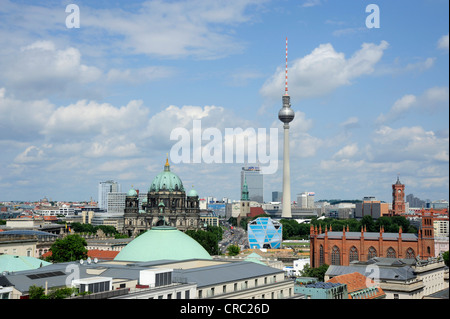 View towards the Berliner Dom Cathedral, the Museumsinsel and the television tower, Berlin Mitte, Germany, Europe - Stock Photo