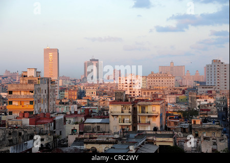 Sunrise, view over the rooftops, city centre of Havana, Centro Habana, Cuba, Greater Antilles, Gulf of Mexico, Caribbean - Stock Photo
