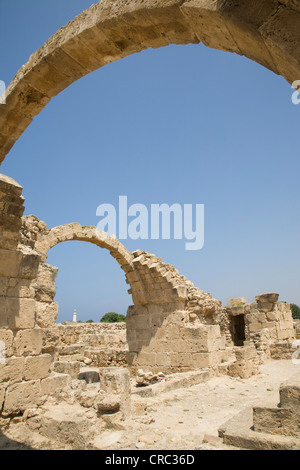 Byzantine castle Kato Pafos Saranda Kolones Archaeological Park, Cyprus. - Stock Photo