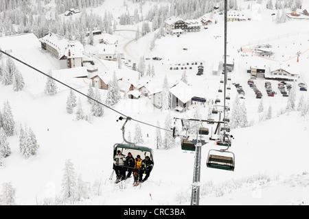 Chair lift to Hochkar ski resort near Goestling an der Ybbs, Mostviertel, Must Quarter, Lower Austria, Austria, - Stock Photo