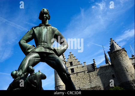 Lange Wapper statue in front of the Het Steen castle and museum, Antwerp, Flanders, Belgium, Benelux, Europe - Stock Photo
