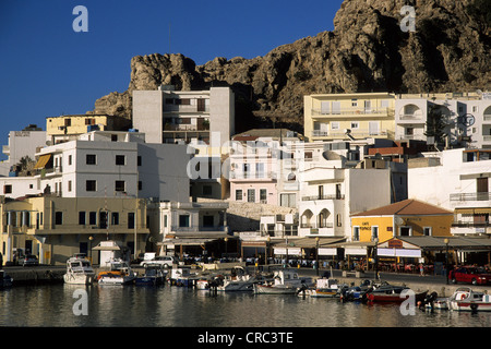 Cafes and restaurants at the port of the town of Karpathos,  Island, Aegean Islands, Dodecanese, Mediterranean, - Stock Photo