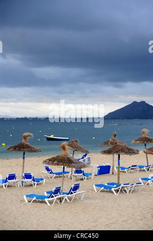 Sunbeds and parasols on a beach, overcast sky, Puerto de Pollensa, Port de Pollenca, Mallorca, Majorca, Balearic - Stock Photo