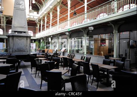 Bar Cafe, interior decoration of the former market hall, Halles Saint-Gery or Sint-Gorikshallen, city centre, Brussels, - Stock Photo