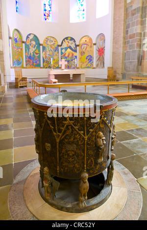 The baptismal font in Ribe Domkirke, Ribe Cathedral, Ribe, Jutland, Denmark, Europe - Stock Photo