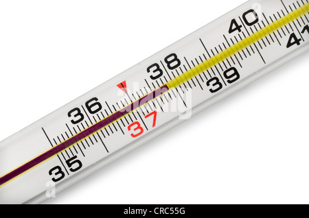 High fever on mercury thermometer - Stock Photo