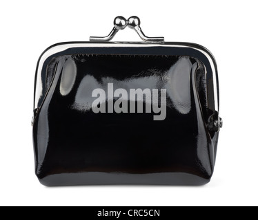 Black leather coin purse isolated on white - Stock Photo