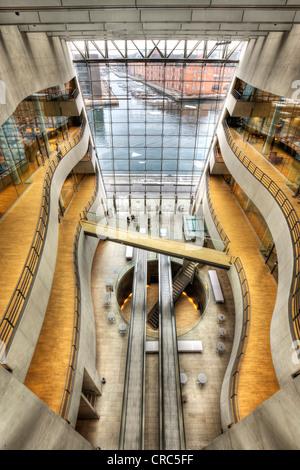 Inside the Royal Library at the Black Diamond building, Copenhagen, Denmark, Europe - Stock Photo