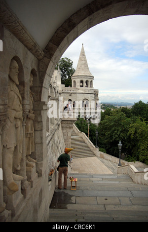 Fisherman's Bastion in Budapest. The Halászbástya or Fisherman's Bastion is a terrace in neo-Gothic and neo-Romanesque - Stock Photo
