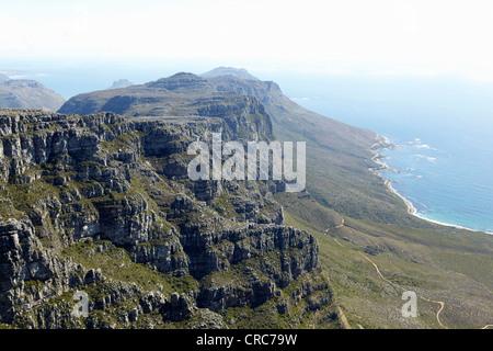 Aerial view of rocky coastal cliffs - Stock Photo