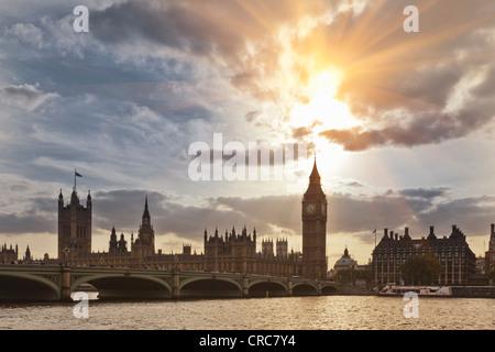 Sun setting over Westminster Hall - Stock Photo
