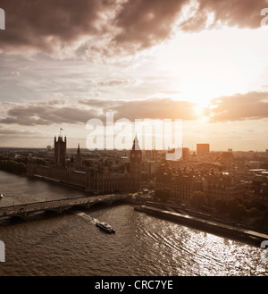 Aerial view of Westminster in London - Stock Photo