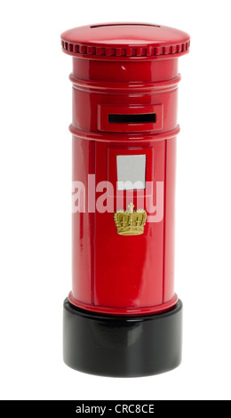 A traditional red British Post box - Stock Photo