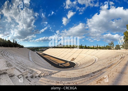 Panathenaic Stadium (329 B.C.) in Athens, hosted the first modern Olympic Games in Greece. - Stock Photo