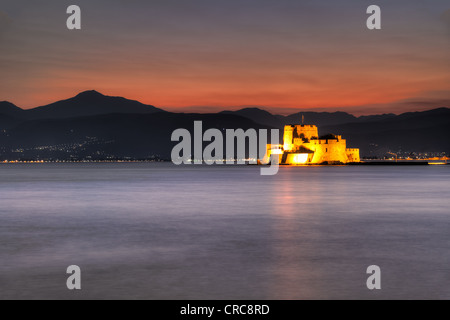The castle of Bourtzi in the bay of Nafplio, Greece - Stock Photo