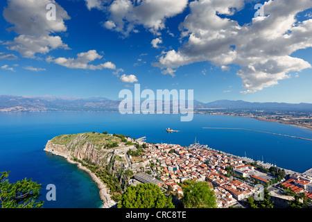 Acronafplia in the bay of Nafplio, Greece - Stock Photo