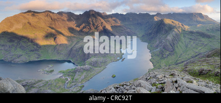 Panoramic image of the view from the summit of Sgurr na Stri overlooking Loch Coruisk and the Black Cuillin, Isle - Stock Photo