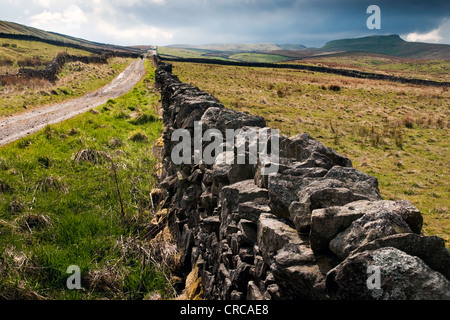 A drystone wall and the roman road lead towards a storm over Yorburgh in the Yorkshire Dales - Stock Photo
