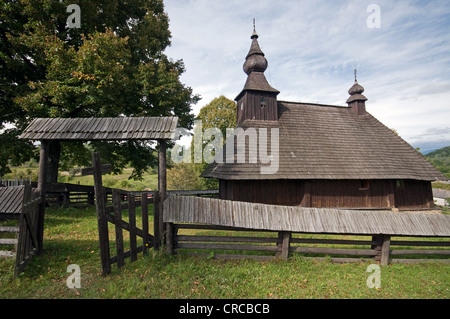 The Greek Catholic wooden church of St Basil the Great (built in year 1750) from Hrabova Roztoka, Slovakia - Stock Photo