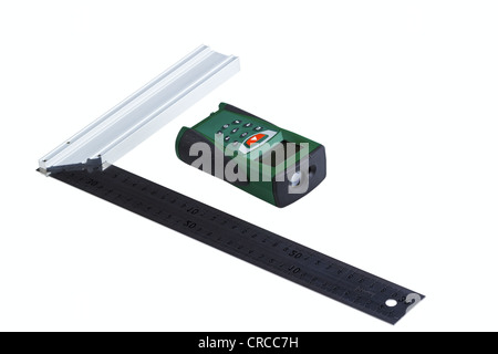 Ruler square and laser range finder isolated on a white background - Stock Photo