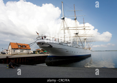 Tall ship Gorch Fock moored in the harbour, Hanseatic city of Stralsund, Mecklenburg-Western Pomerania, Baltic Sea - Stock Photo