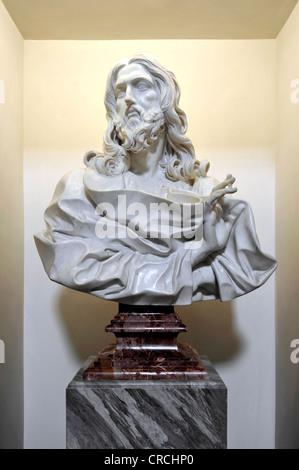 Bust of St. Sebastian by Bernini in the Basilica of San Sebastiano fuori le mura above the Catacombs of San Sebastiano - Stock Photo