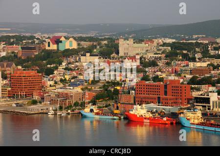 St. John's, the capital of Newfoundland as viewed from Signal Hill, St. John's, Newfoundland, Canada, North America - Stock Photo