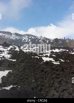 lava field with snow at the North of Mount Etna, Italy, Sicilia - Stock Photo