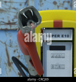 Fuel pump in shape of a snake's head, 'Super E10' sign, special four star petrol blend, symbolic - Stock Photo
