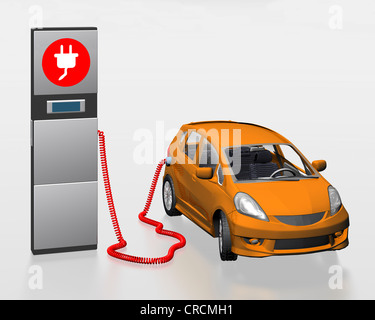 Electric car with solar roof at a power station, illustration - Stock Photo