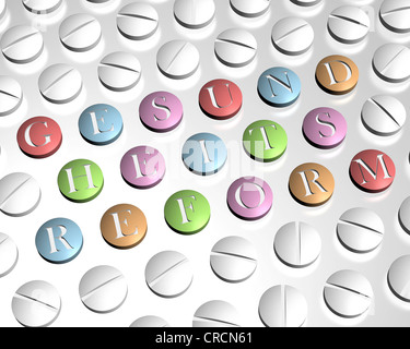 Tablets spelling the word Gesundheitsreform, symbolic image for the German health care reform, illustration - Stock Photo