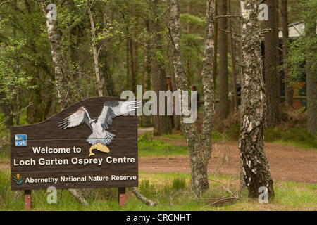 RSPB Loch Garten entrance sign, Loch Garten, Scotland - Stock Photo