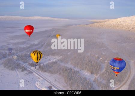 Levi Arctic Hot Air Balloon Festival 2008, Finland, Lapland, Kittilae - Stock Photo