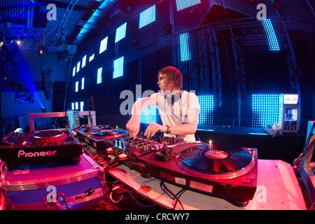 Mayday 2011 techno festival, Westfalenhalle, DJ Gary Beck, Dortmund, North Rhine-Westphalia, Germany, Europe - Stock Photo