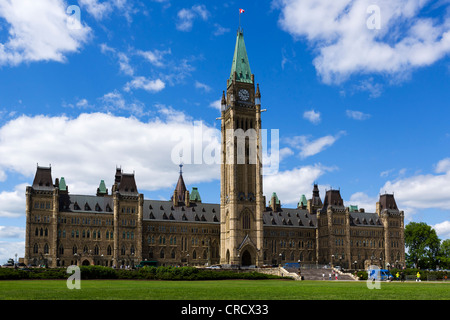 The Centre Block of the Parliament Buildings on Parliament Hill, Ottawa, Ontario, Canada - Stock Photo